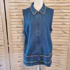 Vintage Chambray Zip Front Top